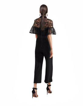 Self-Portrait - Paisley Velvet-Trimmed Embroidered Tulle And Crepe Jumpsuit