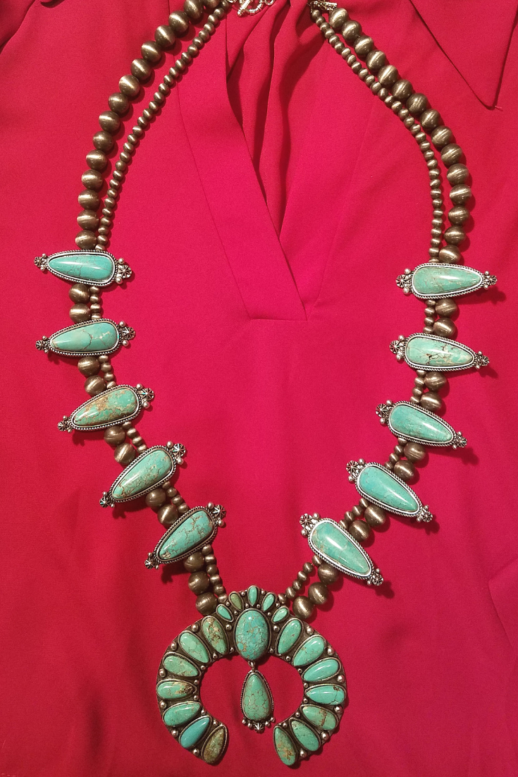 Turquoise Squash Blossom Necklace - White Owl Creek Boutique