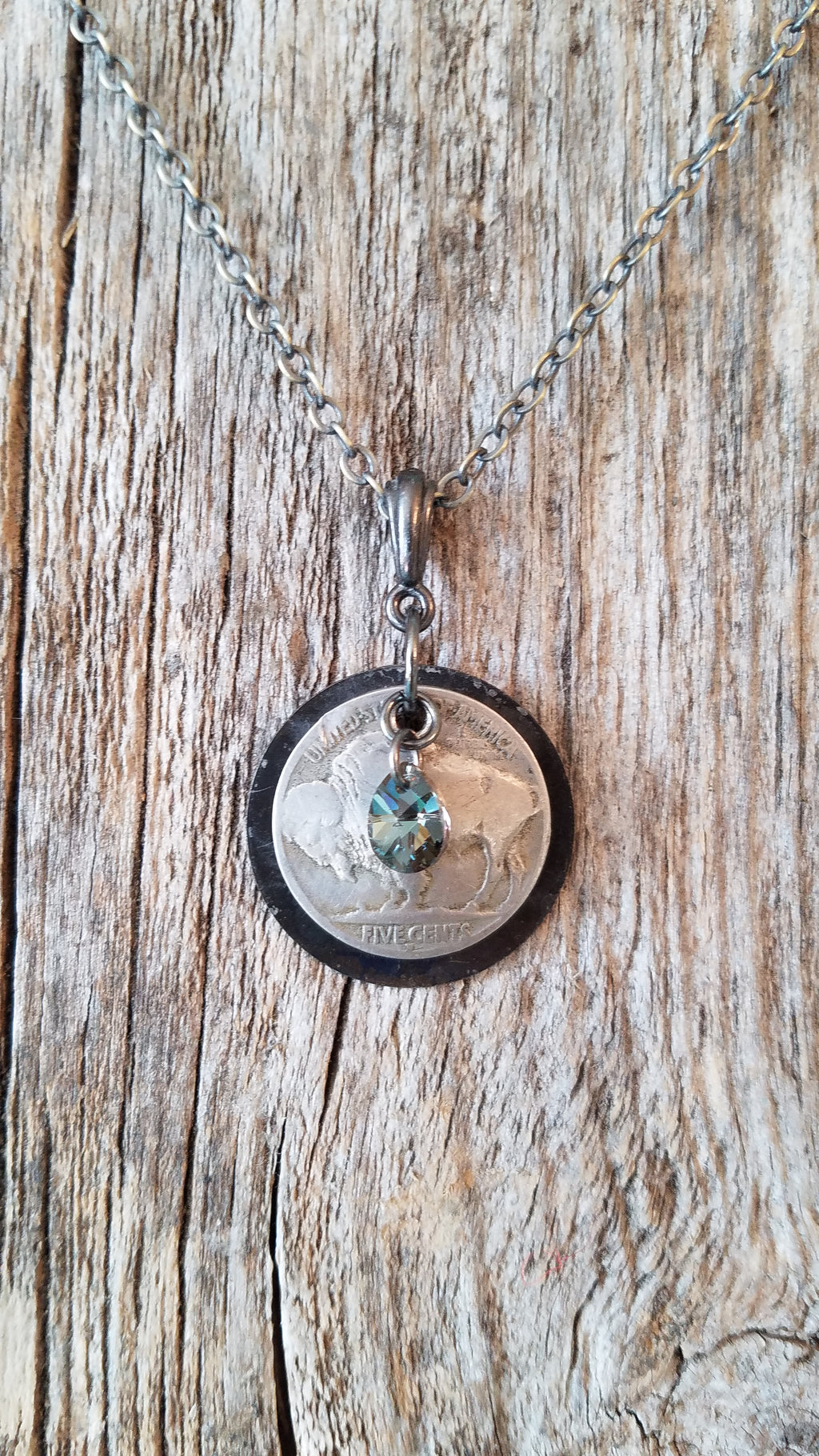 Buffalo Nickel Teardrop Necklace - White Owl Creek Boutique