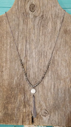 Agate Bead Druzy Necklace - White Owl Creek Boutique