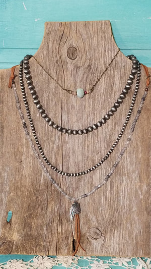 Leather Thunderbird Necklace - White Owl Creek Boutique