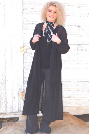 Black Three Tiered Duster - White Owl Creek Boutique