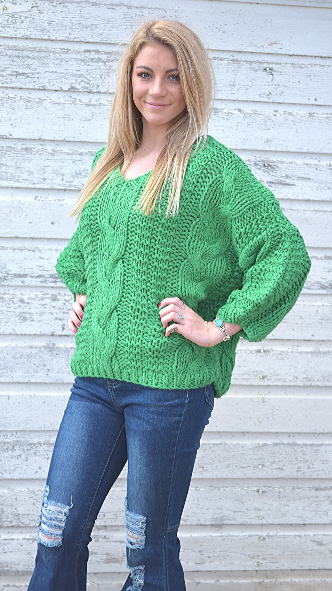 Slouchy Cable Knit Sweater - White Owl Creek Boutique