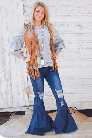Grey Eyelet Blouse - White Owl Creek Boutique