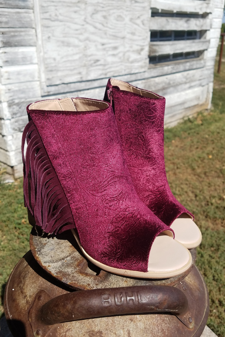 Embossed Velvet Fringe Bootie - White Owl Creek Boutique