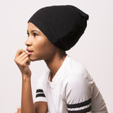 model wearing satin lined beanie