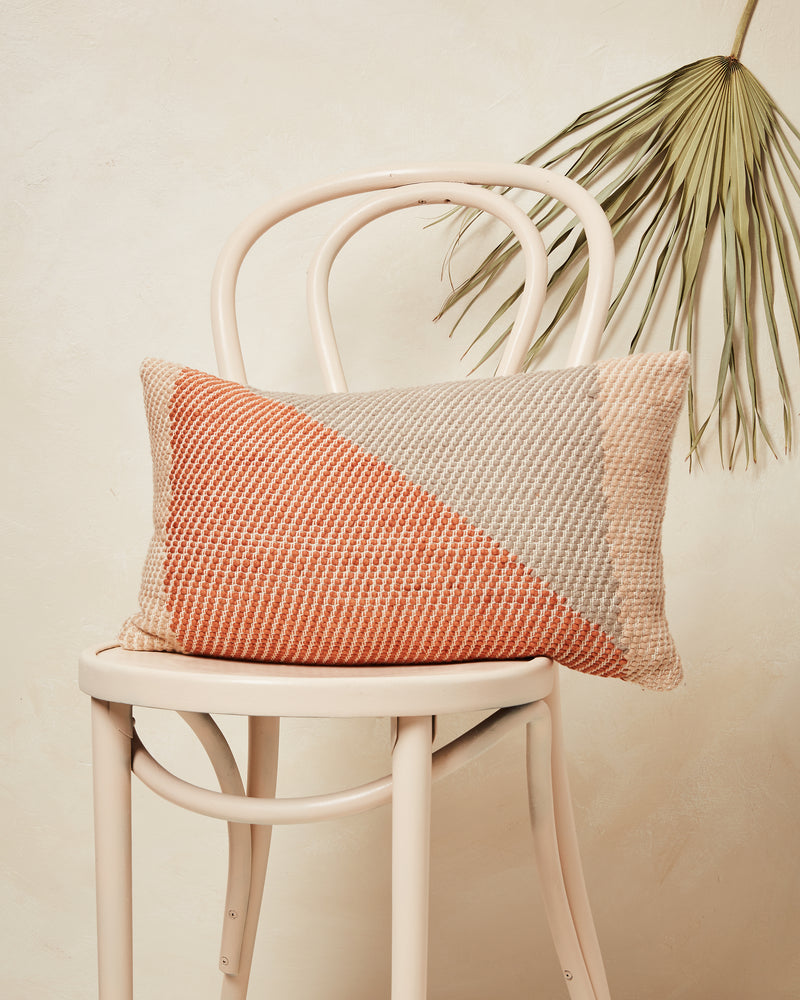 orange grey lumber throw pillow
