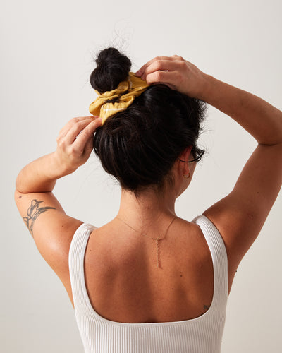 The Everyday Scrunchie - Gold Grid