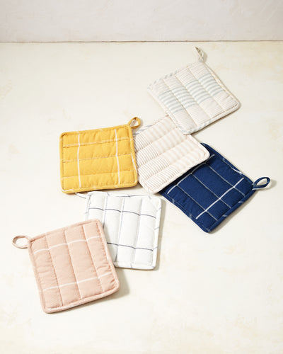 Grid Potholder - Peach