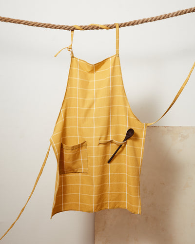 Grid Apron - Gold