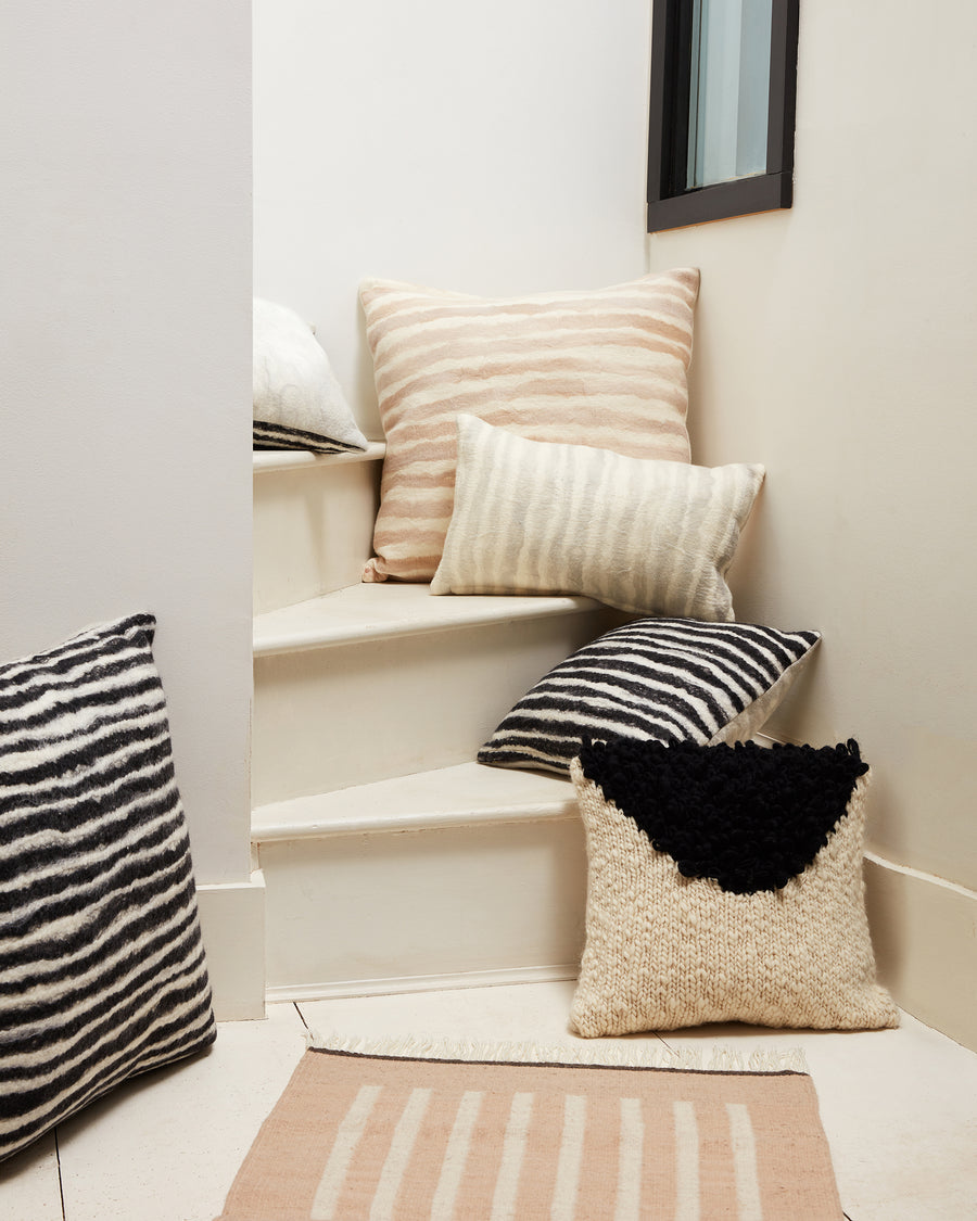 MINNA Moon shag pillow, felted painted stripe pillows, Agnes rug