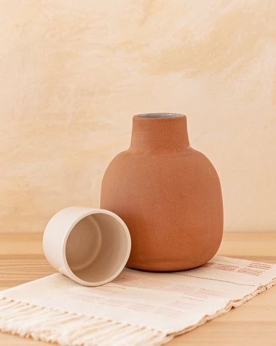 Lagos Del Mundo Medium Clay Pitcher with White Cup