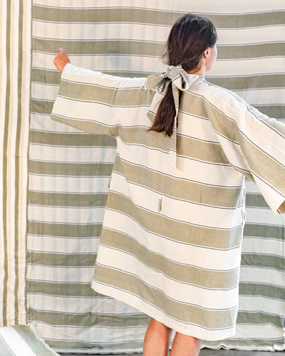 Everyday Robe - Sage Stripe