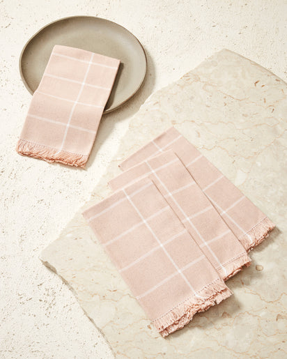 Peach Grid Napkin