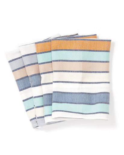 MINNA Lagos Stripe napkins, blues, whites, oranges.