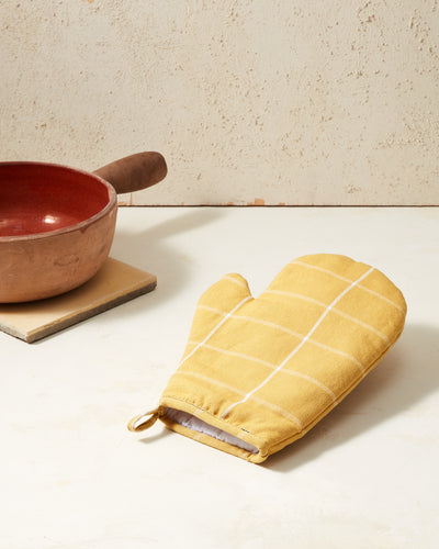 Grid Oven Mitt - Gold