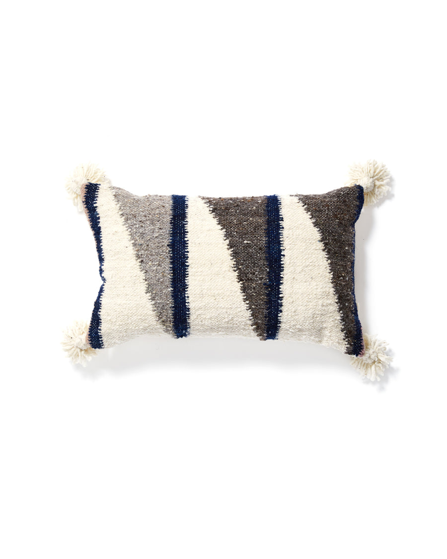 Diagonal Lumbar Pillow in Light with greys, white and indigo