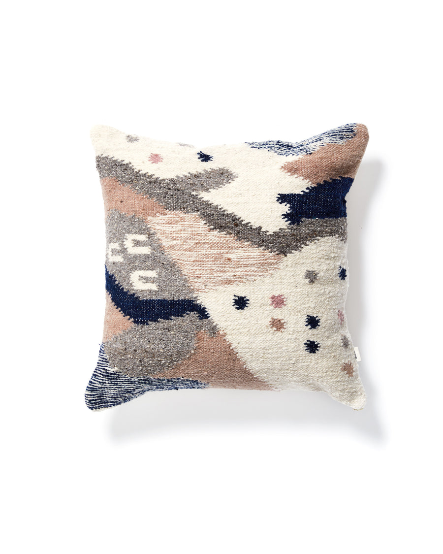 Cartographer Pillow Light, multi colored design in greys, pink and indigo