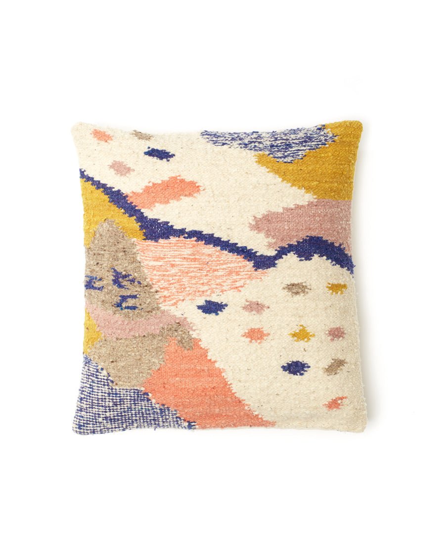 Cartographer Pillow, multi colored design in gold, white, indigo and peach