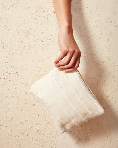 Recycled Stripe Pouch Cream