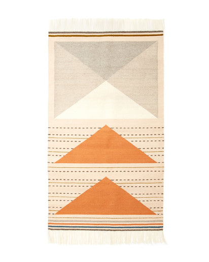 MINNA Wild Geese Rug in Peach with orange, greys, white