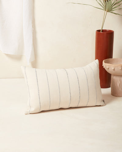 Recycled Stripe Lumbar Pillow - Grey