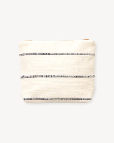 Recycled Stripe Pouch - Grey