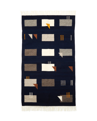 MINNA Symmetrical Mess Rug in Dark, blue, grey, taupe, white, gold