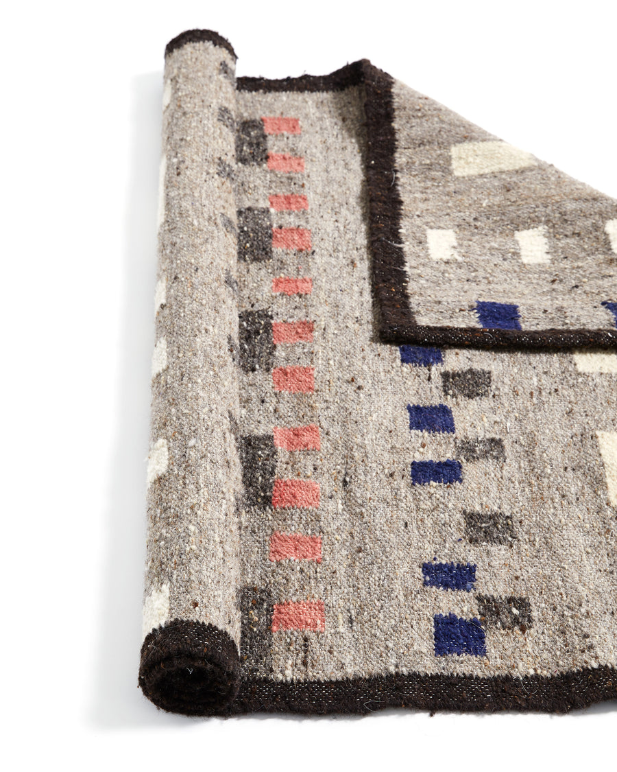 MINNA Wandering Mark Rug Grey with blues, pinks, white