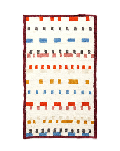 MINNA Wandering Mark Rug Bright, white with reds, blues, gold