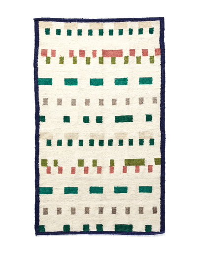 MINNA Wandering Mark Rug Greens, white with greens, oranges, blues