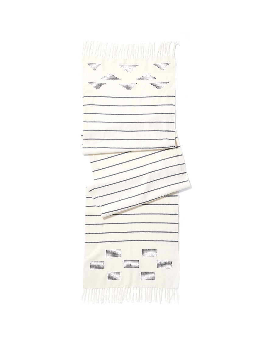 MINNA Stripes and Blocks runner, white and indigo
