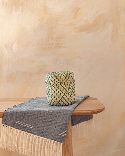 Extra Small Oaxacan Woven Basket Natural + Fern