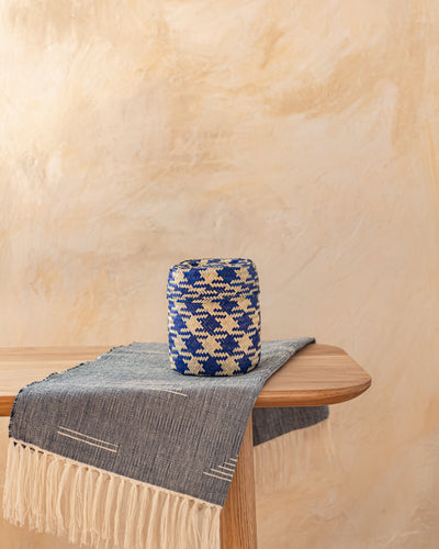 Extra Small Oaxacan Woven Basket Indigo Check