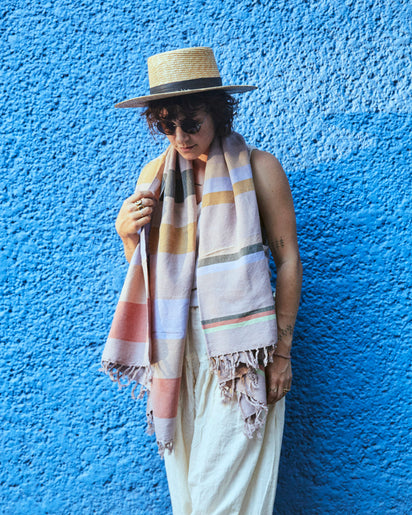 MINNA Honeydew Scarf, stripes of lavender, green, blues, corals