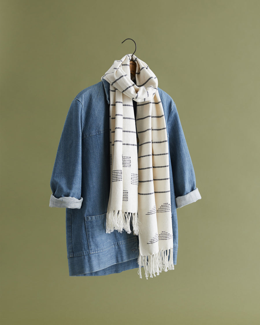 MINNA Stripes and Blocks scarf, white and indigo