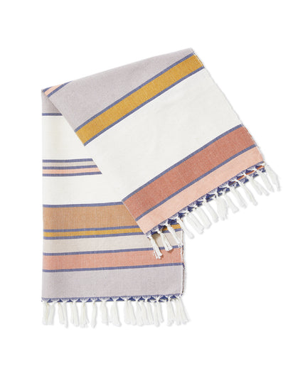 MINNA Sunrise Stripe Towel, orange, rust, purples, white