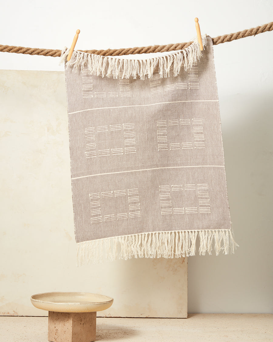 Blocks Towel Beige