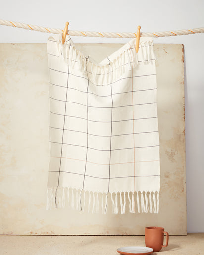 Cream Grid Towel