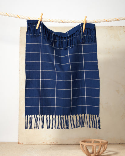 Indigo Grid Towel
