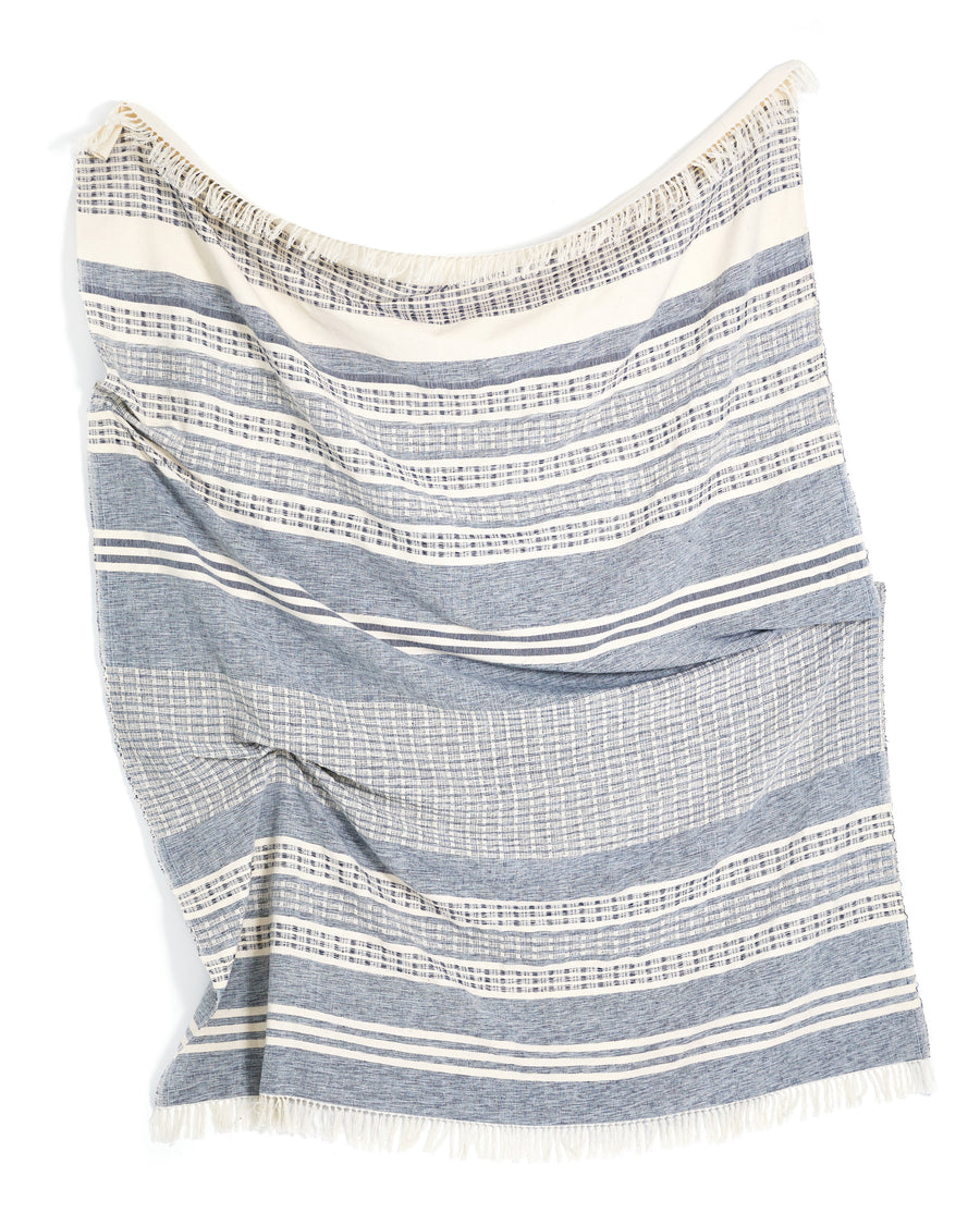 MINNA Marta throw, textured and strips of blue and white