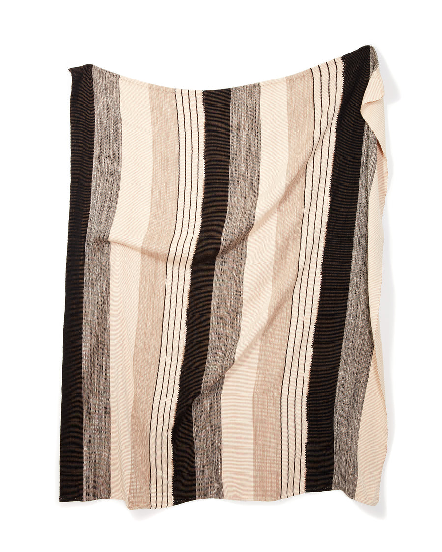 MINNA Pantelho Throw striped black, white and beige.