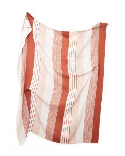 MINNA Pantelho throw striped rust, cream and white.