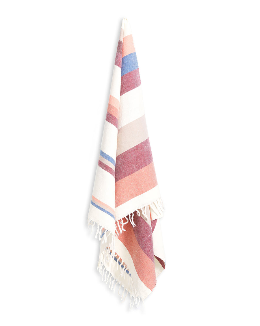 MINNA grapefruit towel, stripes of corals, blue, white and taupe