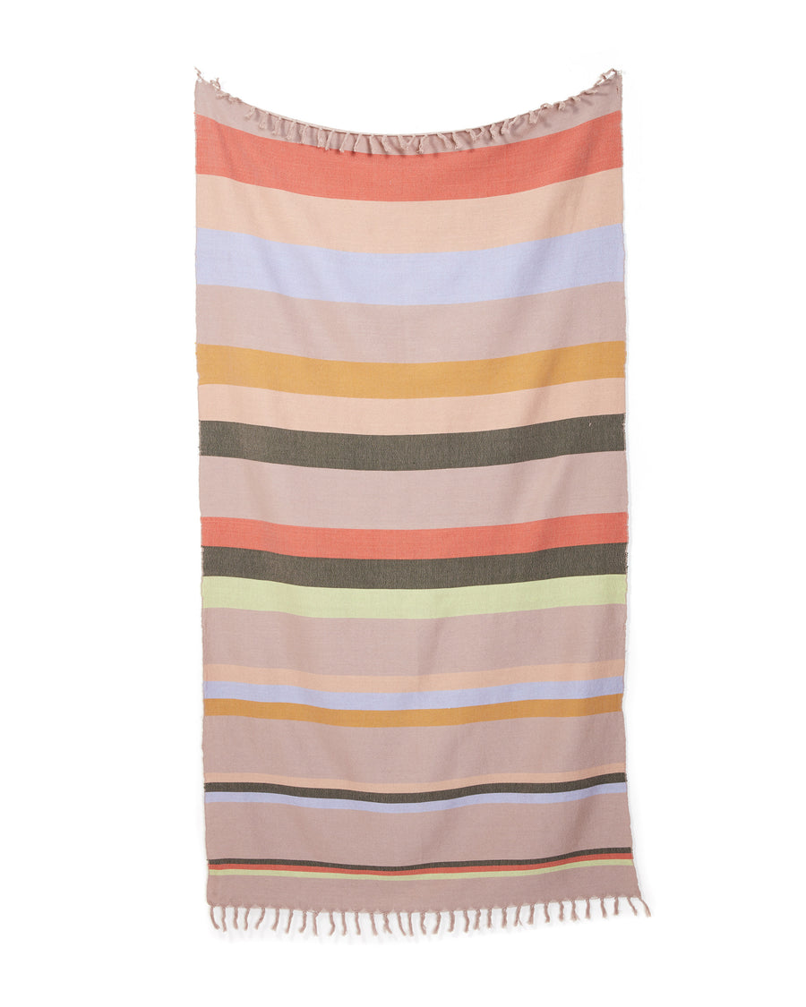 MINNA Honeydew towel, stripes of lavender, green, blues, corals, grey