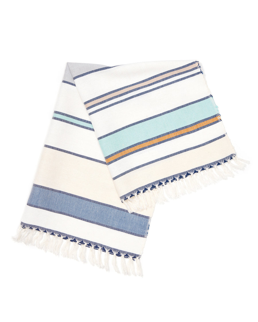 MINNA Lagos stripe towel, blues, whites, orange