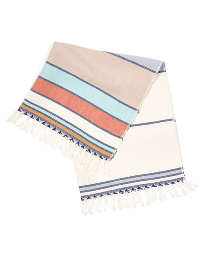 MINNA Market Stripe Towel, corals, blues, white