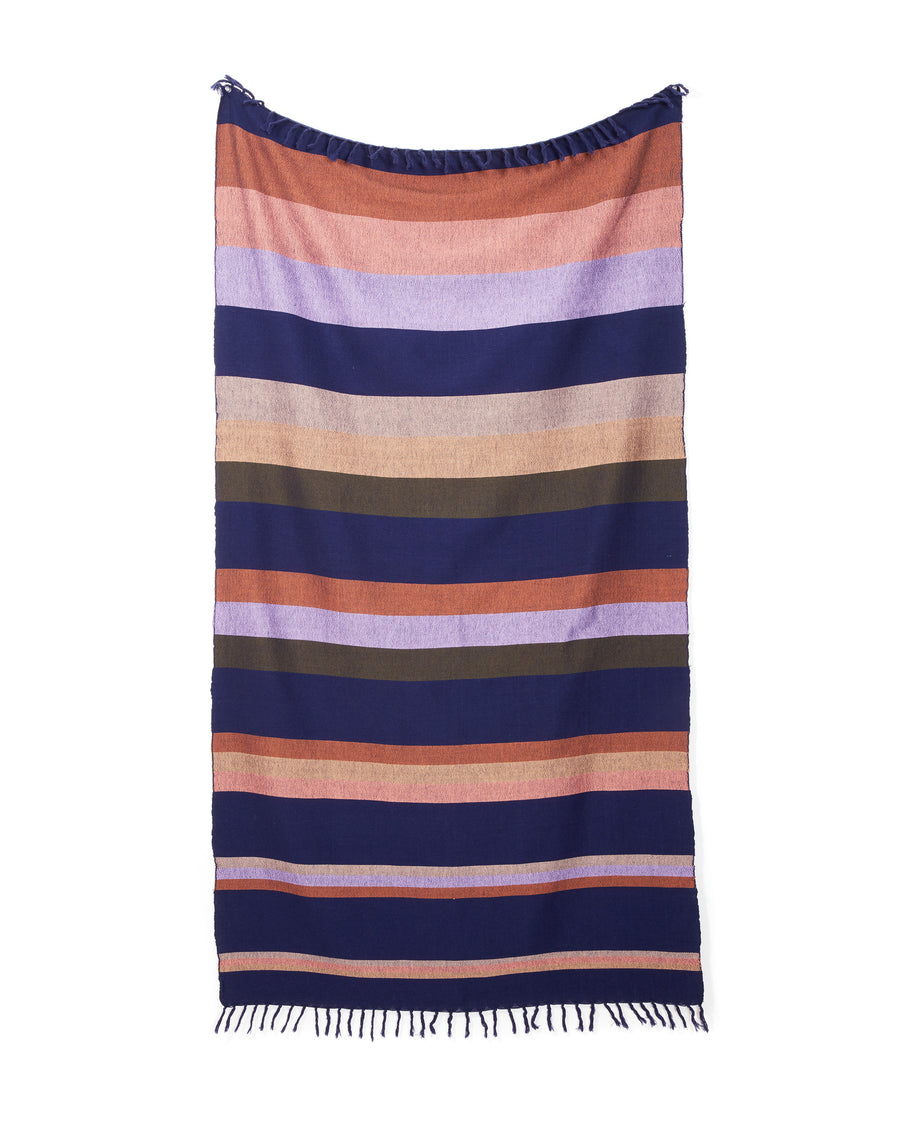 MINNA Plum towel, stripes of purples, oranges, corals