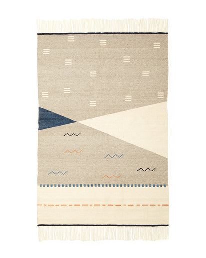 MINNA Norma Rug in Indigo with orange, white and greys