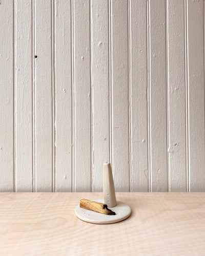 White Monolith Ceramic Incense Holder